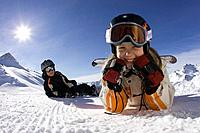 Austria, Tyrol, Serfaus, Snowboarder, children, skiing slope, snow, lie, rest,