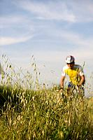 Cyclist with oat field in foreground (thumbnail)