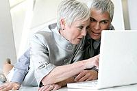 Mature couple looking at laptop in airport