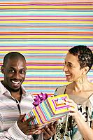 African American couple with birthday present