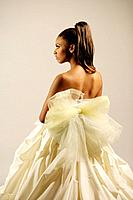 Young African American woman in elegant gown, studio shot