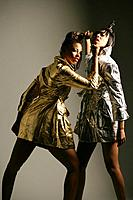 Young stylish African American women fighting, studio shot