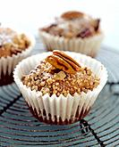Three pecan muffins, close_up