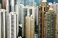 Hong Kong, aerial view of skyscrapers