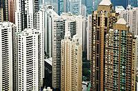 Hong Kong, aerial view of skyscrapers
