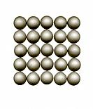 Table tennis balls in grid pattern on white background
