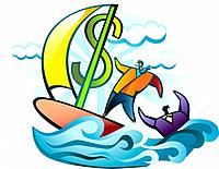 Conceptual image of businessman sailing with financial rescue