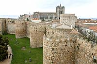 Medieval city walls. These walls were built in the Middle Ages to defend the city of Avila against invaders. Photographed in Spain.