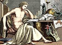 Aristotle studying in his youth. The Ancient Greek philosopher and naturalist Aristotle 384_322 BC influenced many later thinkers, working in areas su...
