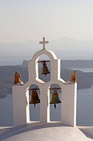 Greece, Santorini, church bells overlooking sea