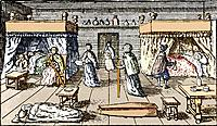 Bubonic plague victims in a plague house in 17th century London, historical artwork. A dead body and coffin are in the foreground. Bubonic plague epid...