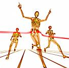 Athletes finishing a race. Enhanced X_ray of a group of athletes crossing a finishing line.