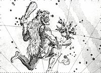 Hercules constellation, 17th century artwork. Hercules is the Roman name for Heracles, a heroic figure in Greek mythology. This illustration is from J...