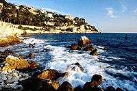 The beach of La Reserve in Nice and the cape of Nice. Alpes Maritimes, France