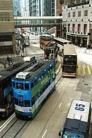 Bus on street, central Hong Kong, China