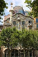 Casa Batllo in Paseo de Gracia Avenue in Barcelona, Spain