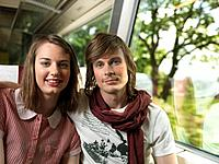 Young couple on train