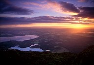 Killarney Lakes from Torc Mountain, Killarney National Park, County Kerry, Ireland, Sunset over lakes
