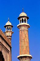 Minaret of a mosque, Jama Masjid, New Delhi, India