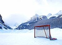 Hockey goal on frozen lake, Lake Louise, Banff, Alberta, Canada