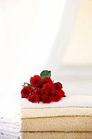 Roses set atop bath towels