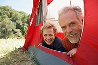 Couple relaxing in a tent