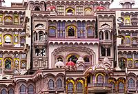 India, Gujurat, Decorative windows in traditional housing