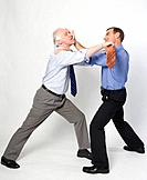 Two business men fighting, studio shot