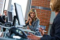 Portrait of businesswoman on telephone