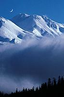 USA, California, Mt Shasta California in morning mist