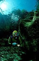 Flusstauchen in der Traun, Scuba diving in a fresh, Scuba diving in a freshwater river, scuba diver, traun