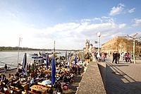 Riverside promenade and gastronomy along the Rhine, old part of town, Duesseldorf, state capital of NRW, North_Rhine_Westphalia, Germany