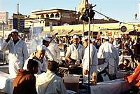 Food stalls at the market, Djama El_Fna, Marrakech, Marocco, Africa