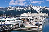 Ships in Seward Harbour, Resurrection Bay, Alaska, USA