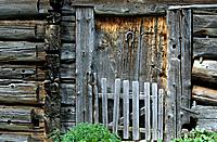 door of alpine hut with horseshoe, Zillertal range, Tyrol, Austria