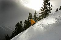 Skier on slope, Castle Mountain ski resort, Alberta, Canada