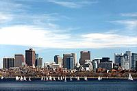 The Charles River and Boston skyline, Boston, Massachusetts, USA