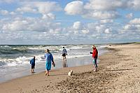 Family with Dog on Henne Strand Beach, Henne Strand, Central Jutland, Denmark