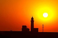 Sunset at the lighthouse of Mers_les_Bains, Channel, Picardie_Nord, dept Somme, France, Europe