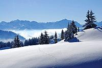 snow_covered mountain scenery, Riedberger Horn, Grasgehrenlifte, Allgaeu range, Allgaeu, Swabia, Bavaria, Germany
