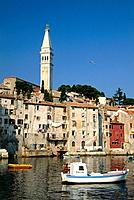 View towards the old town of Rovinj, Istria, Croatia