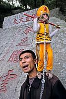 performing monkey, Tai Shan, Shandong province, Taishan, Mount Tai, World Heritage, UNESCO, China, Asia