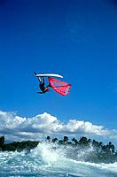 Windsurfer performing a jump, Windsurfing, Sport
