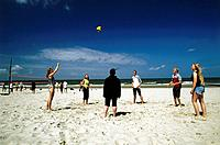 Beachvolleyball on beach, Wangerooge, North Sea, East Frisia, Germany