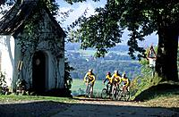 group of four mountainbikers at Samerberg, Chiemgau, Upper Bavaria, Bavaria, Germany