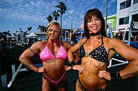 Female Bodybuilder, Muscle Beach, Venice, L.A., Los Angeles, California, USA