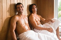 Two men in a sauna