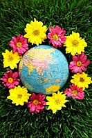 Globe on grass surrounded by flowers (thumbnail)