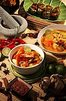 Lontong, curry noodle and barbeque pandan chicken