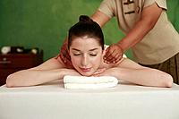 Woman enjoying a back massage